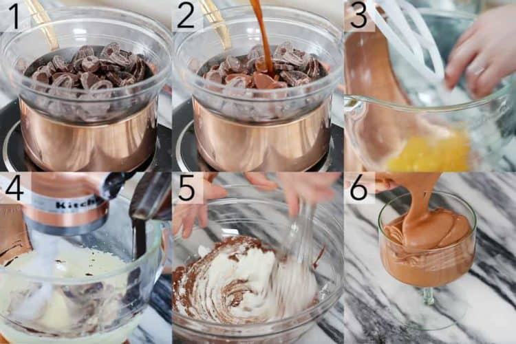 A photo showing steps on how to make chocolate mousse.