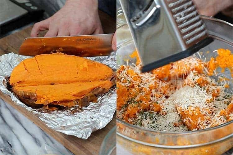 roasted sweet potatoes being cur up then added to a bowl with cheese and herbs.