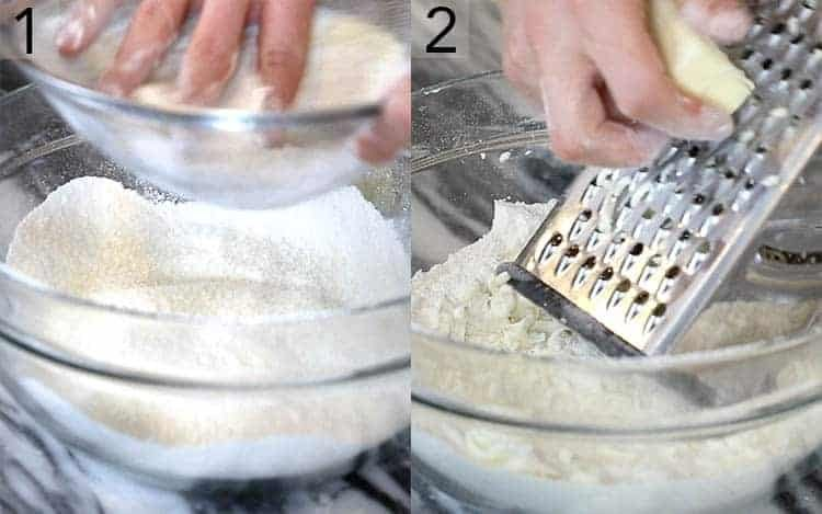 Two photos showing pastry dough being made by hand.