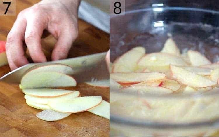 Two photos showing apples being sliced and soaked in a mixture.