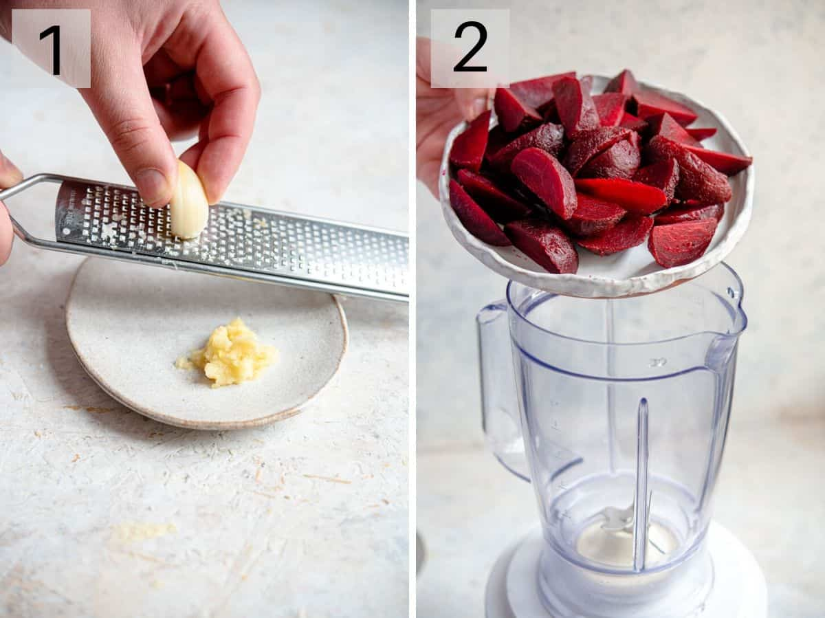 Two photos showing how to make beet hummus