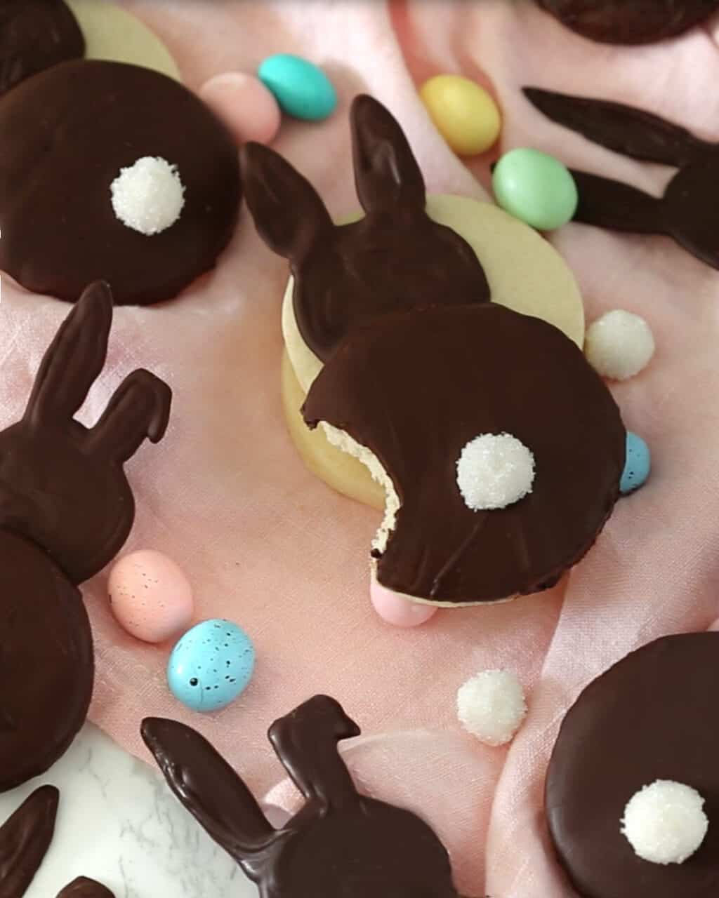 A photo of a chocolate coated bunny cookie with a bite taken out of it.