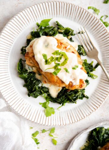 An overhead shot of chicken florentine