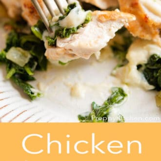 A graphic of a piece of chicken with on a fork and Chicken Florentine written in text underneath