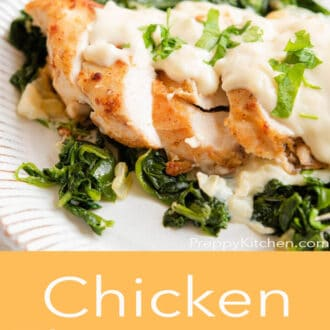 A graphic of slices of chicken with cheese sauce and Chicken Florentine written in text underneath