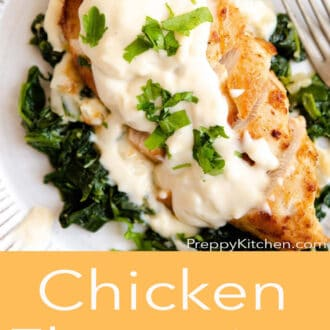 A close up of chicken with cheese sauce with Chicken Florentine written underneath