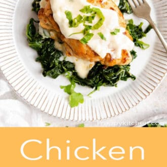 spinach and chicken on a white plate with Chicken Florentine in text underneath