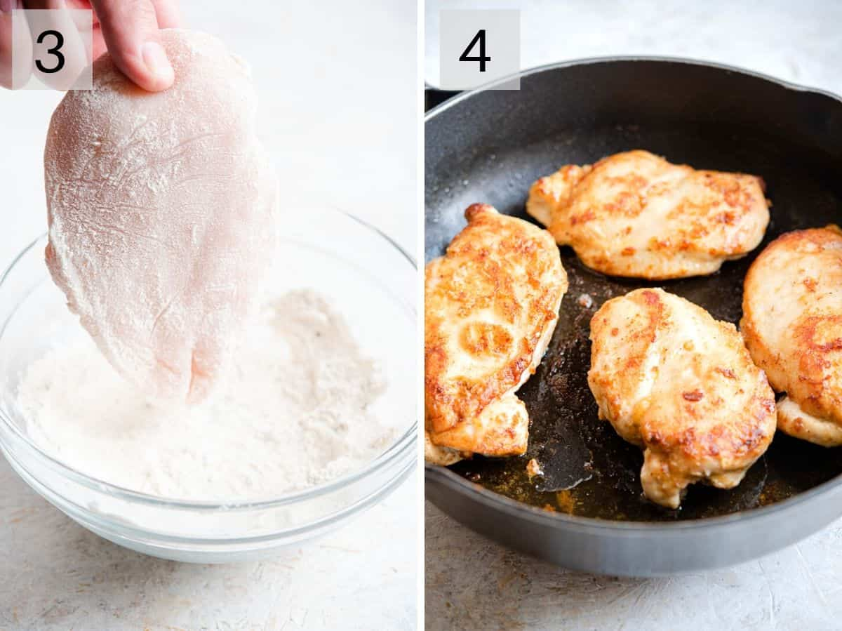Two photos showing how to dredge chicken and cook it