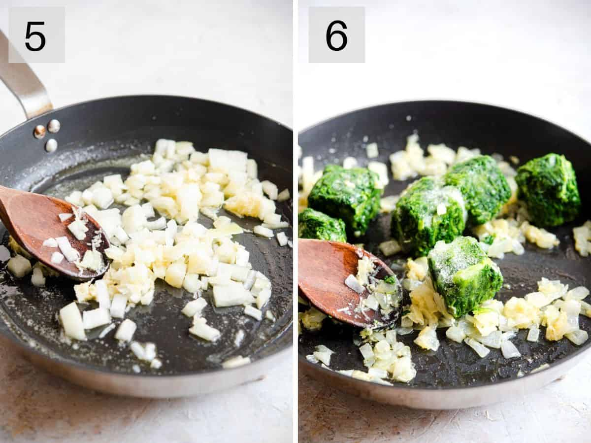 Two photos showing how to saute onions and spinach