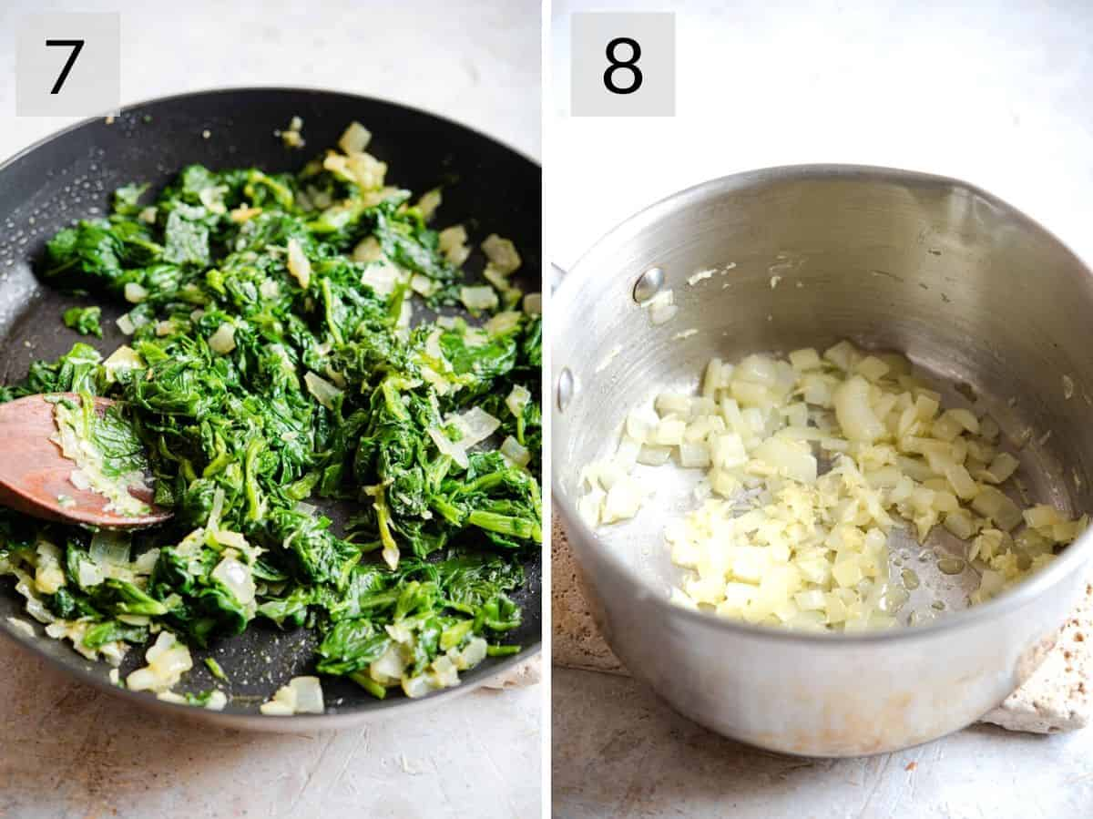 Two photos showing how to prepare spinach and sauce for chicken florentine