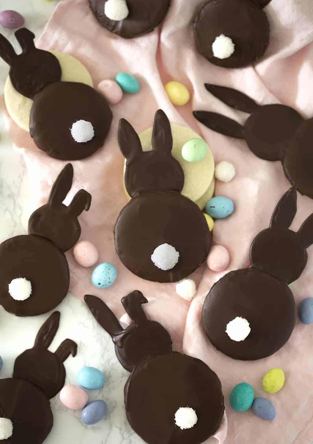 A photo of chocolate coated bunny cookies.
