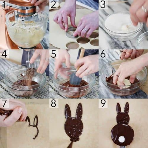 a photo showing steps on how to make bunny cookies.