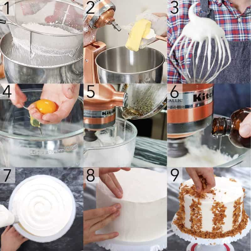A photo showing steps on how to make a coconut cake.
