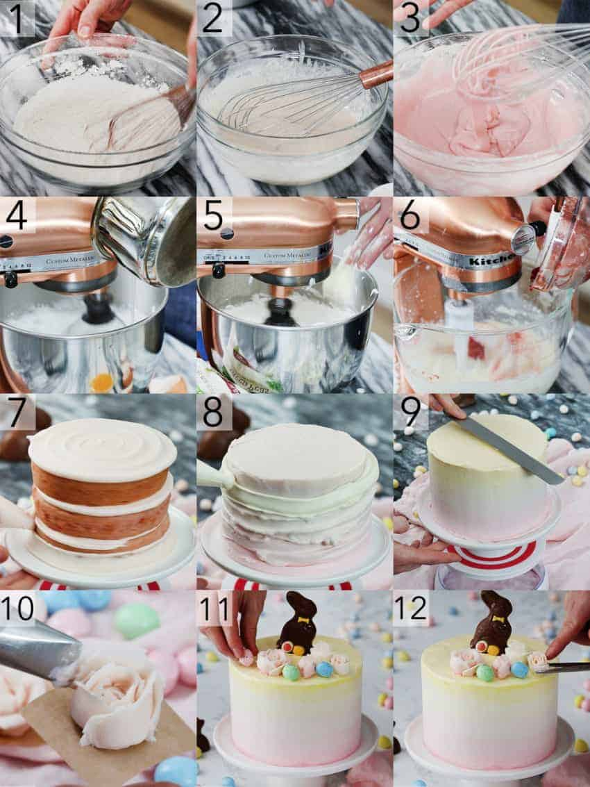A photo showing steps on how to make an Easter bunny cake.