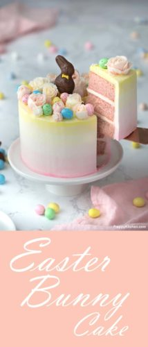 A clipping of an adorable Easter bunny cake with buttercream flowers, chocolate eggs and a chocolate bunny on top.