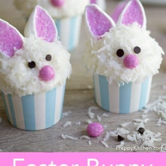 easter bunny cupcakes with marshmallow bunny ears