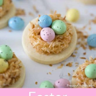 easter cookies with colorful chocolate eggs