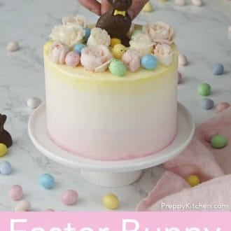 3 layered strawberry easter cake with flowers and bunny