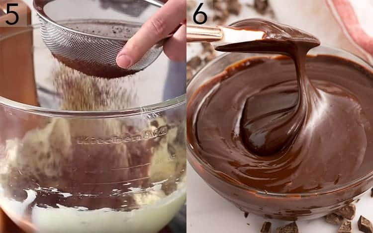 Two photos showing mocha buttercream and ganache being made.