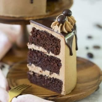A three layer piece of mocha cake.