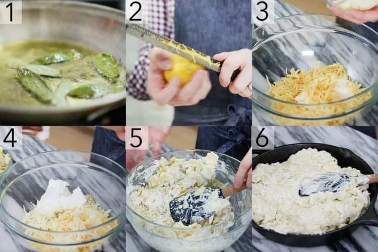 A photo showing steps on how to make baked artichoke dip.