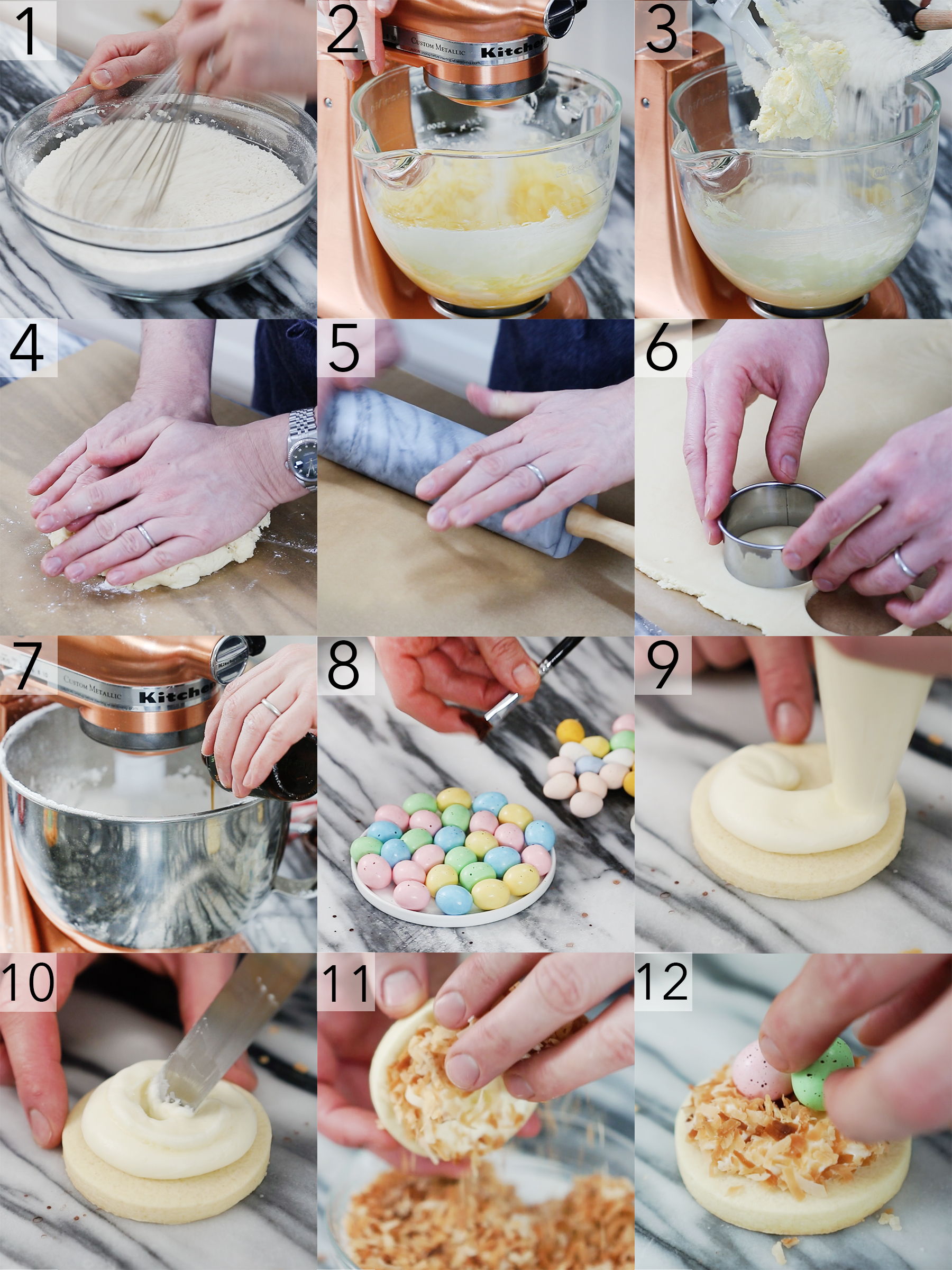 Step by step photos for making bird's nest Easter Cookies