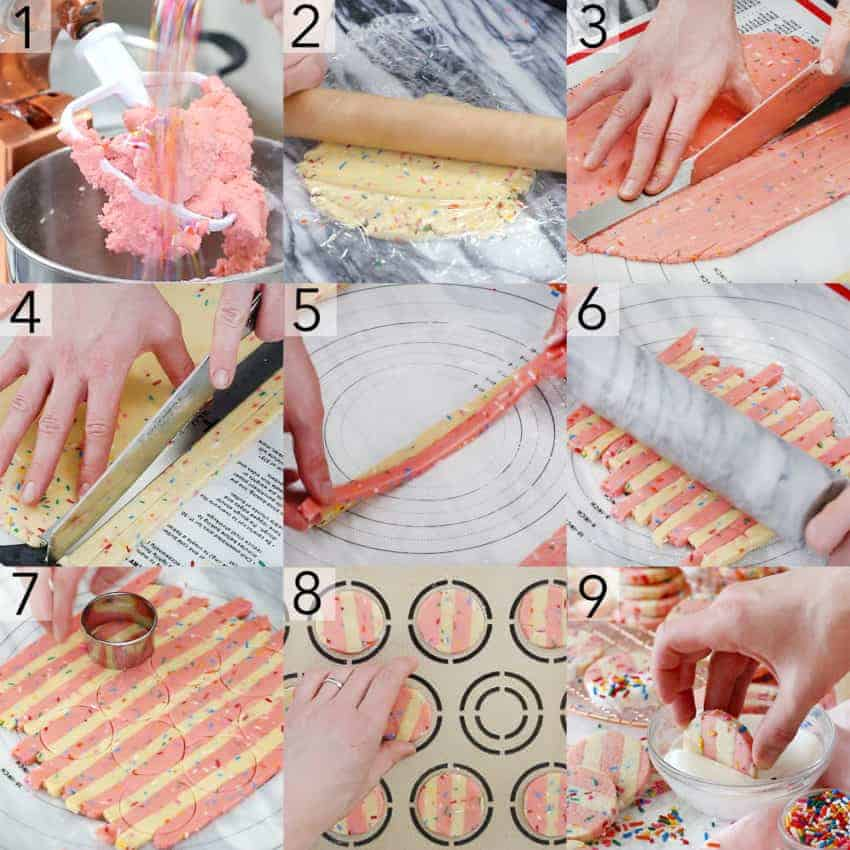 A photo collage showing steps to make Funfetti Cookies
