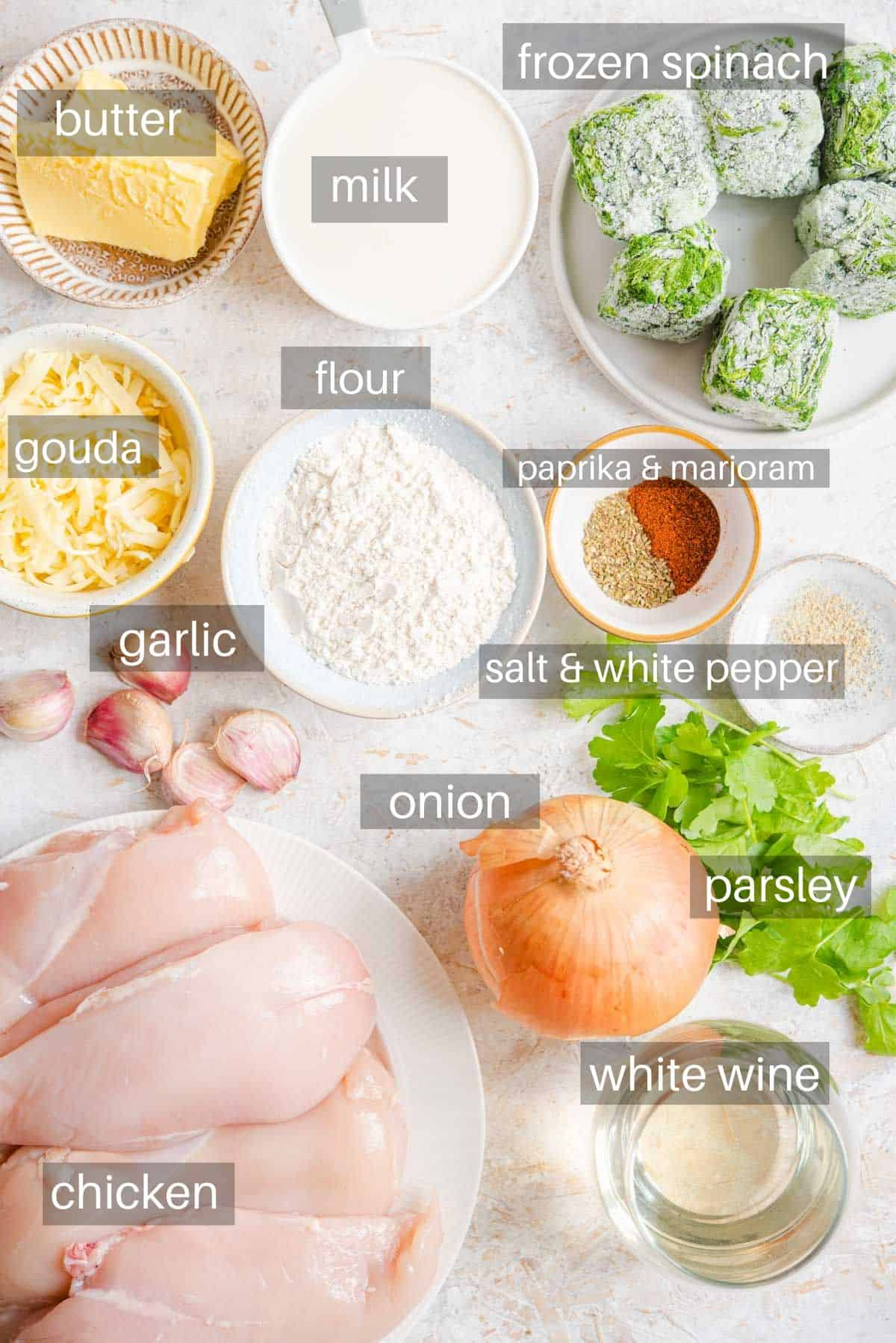 An overhead shot of all the ingredients you need to make Chicken Florentine