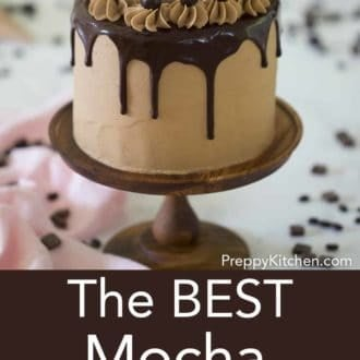 layered mocha cake sitting on a stand