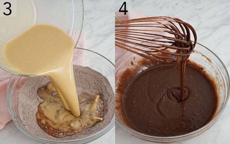 Two photos showing mocha cake batter getting whisked together..