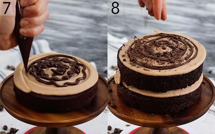 Two photos showing a mocha cake getting assembled with buttercream, ganache and chocolate covered espresso beans.