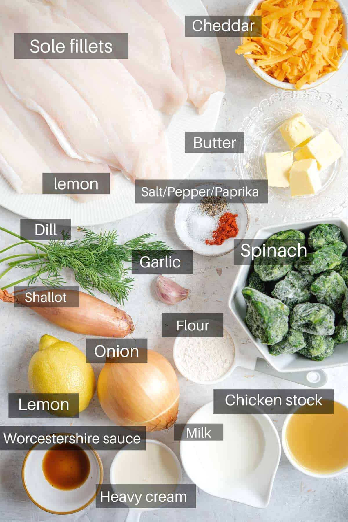 An overhead shot of all the ingredients you need to make fillet of sole
