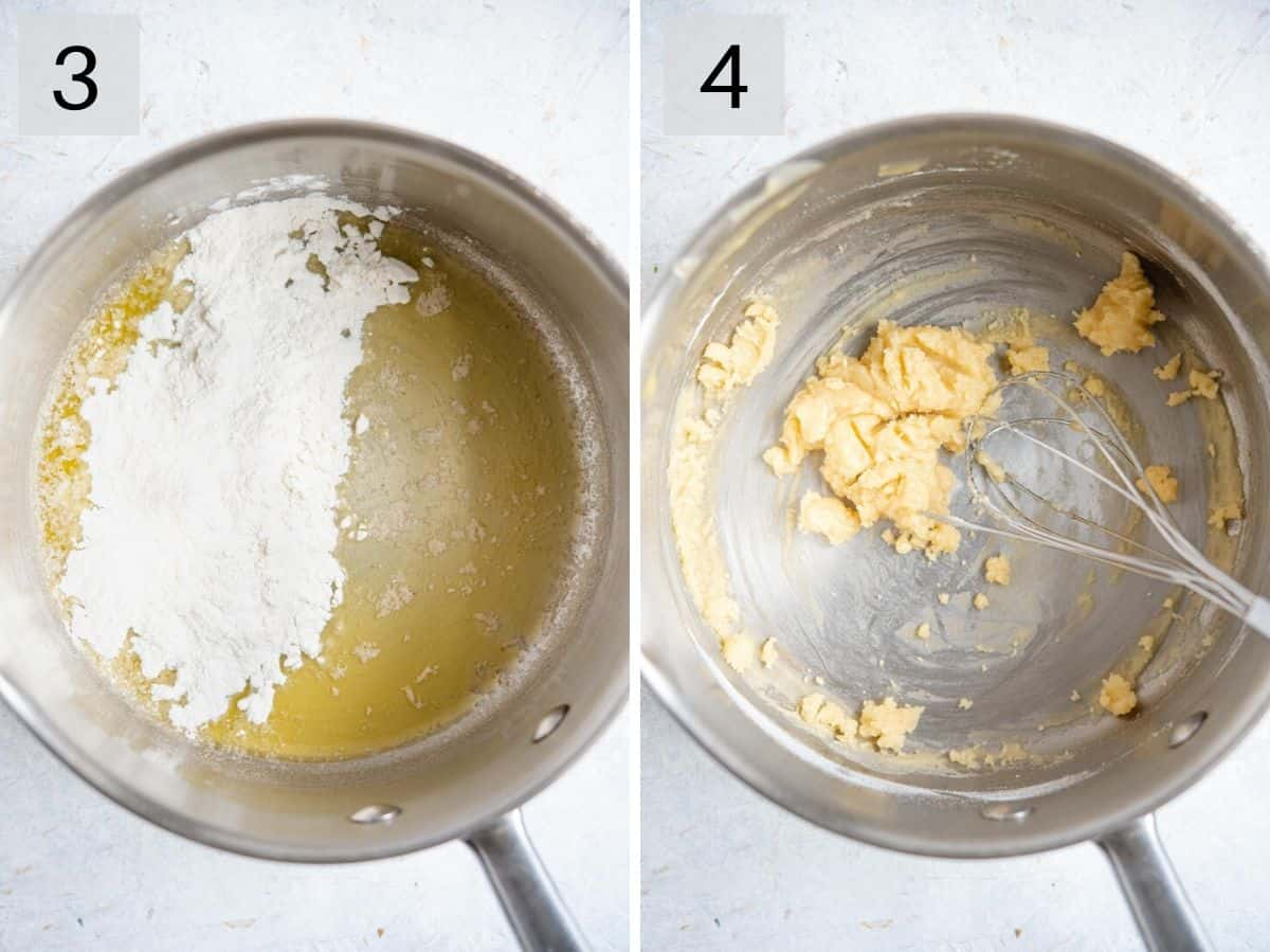 Two photos showing how to make a roux for a cheese sauce