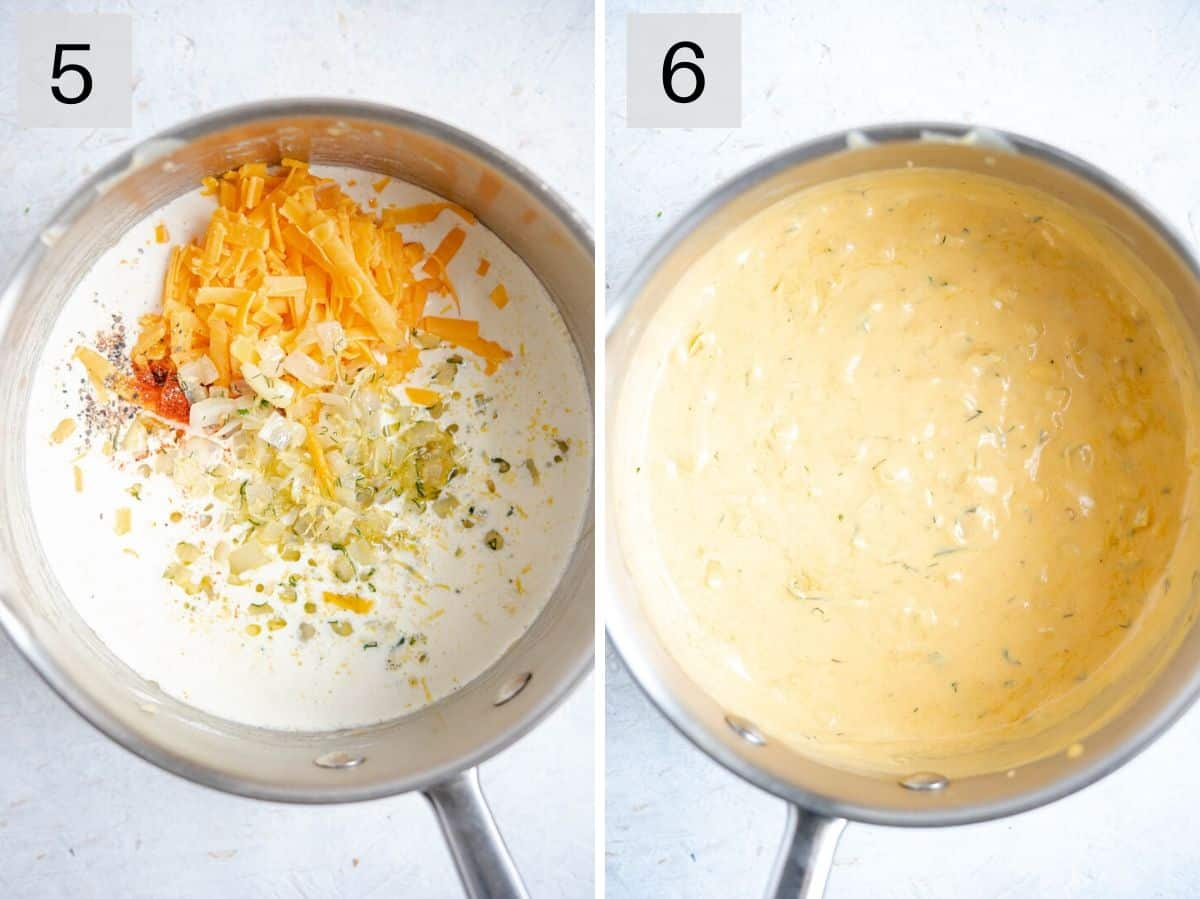 Two photos showing how to make a cheese sauce