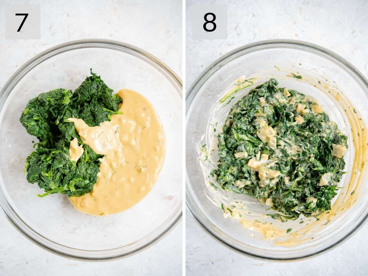 Two photos showing how to prepare the filling for stuffed sole fish