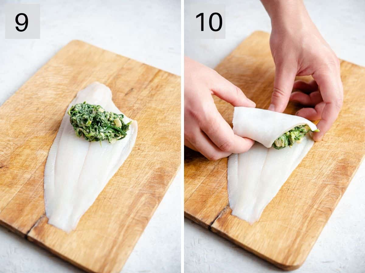 Two photos showing how to stuff and roll sole fillets