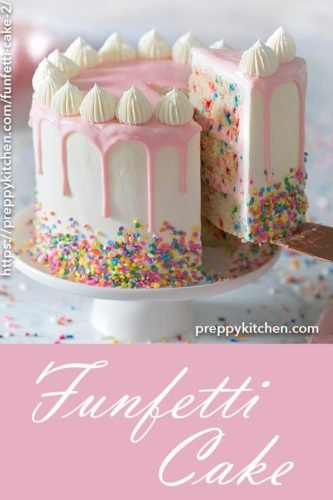 A clipping of a funfetti cake on a cake stand with a piece being removed.