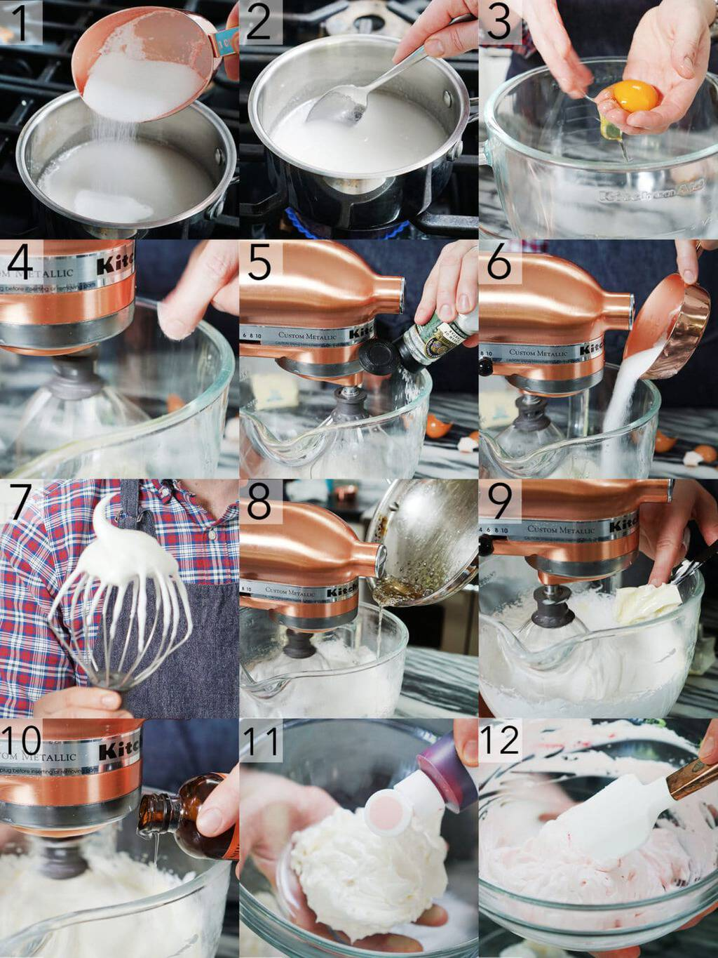 Photo collage showing steps to make Italian meringue Buttercream