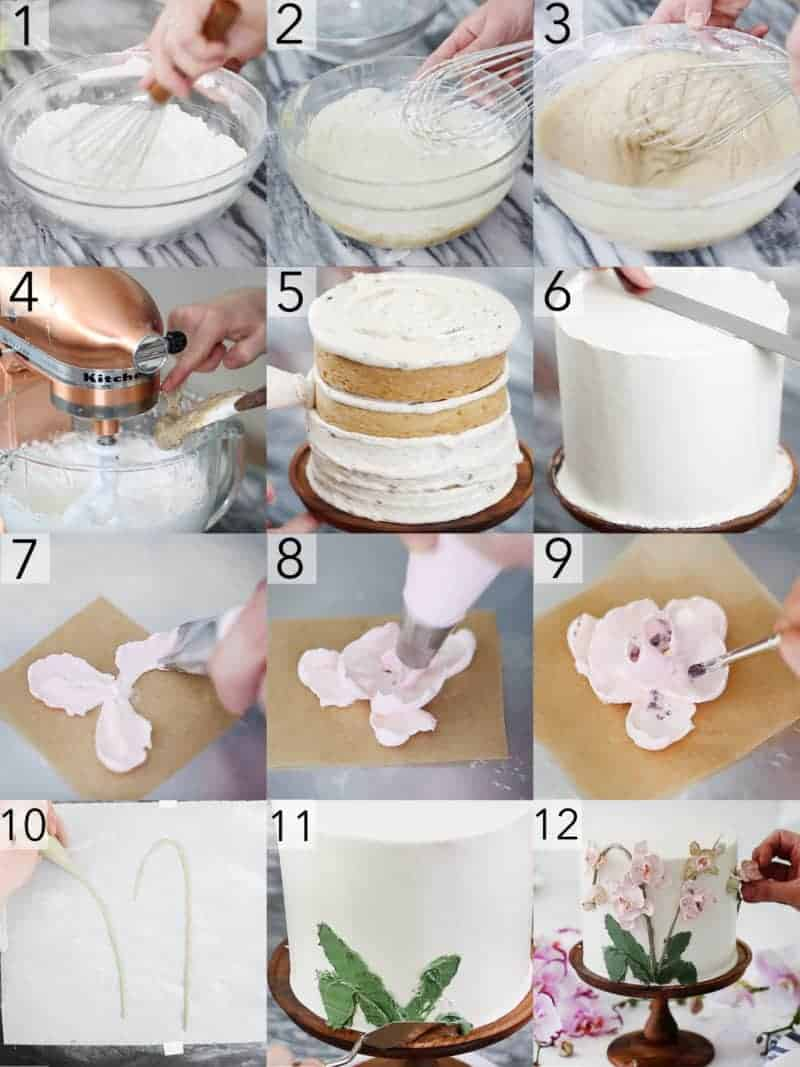 A photo collage showing steps to make a brown butter cake