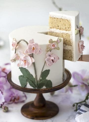 photo of a brown butter Cake on a wooden cake stand