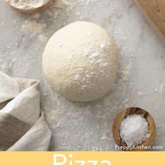 A top-down view of pizza dough.
