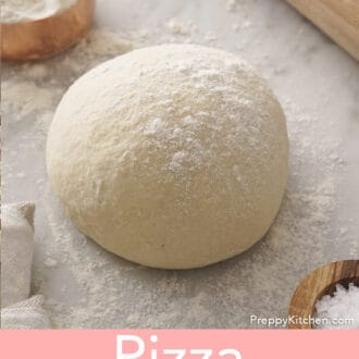 A lightly floured ball of pizza dough.