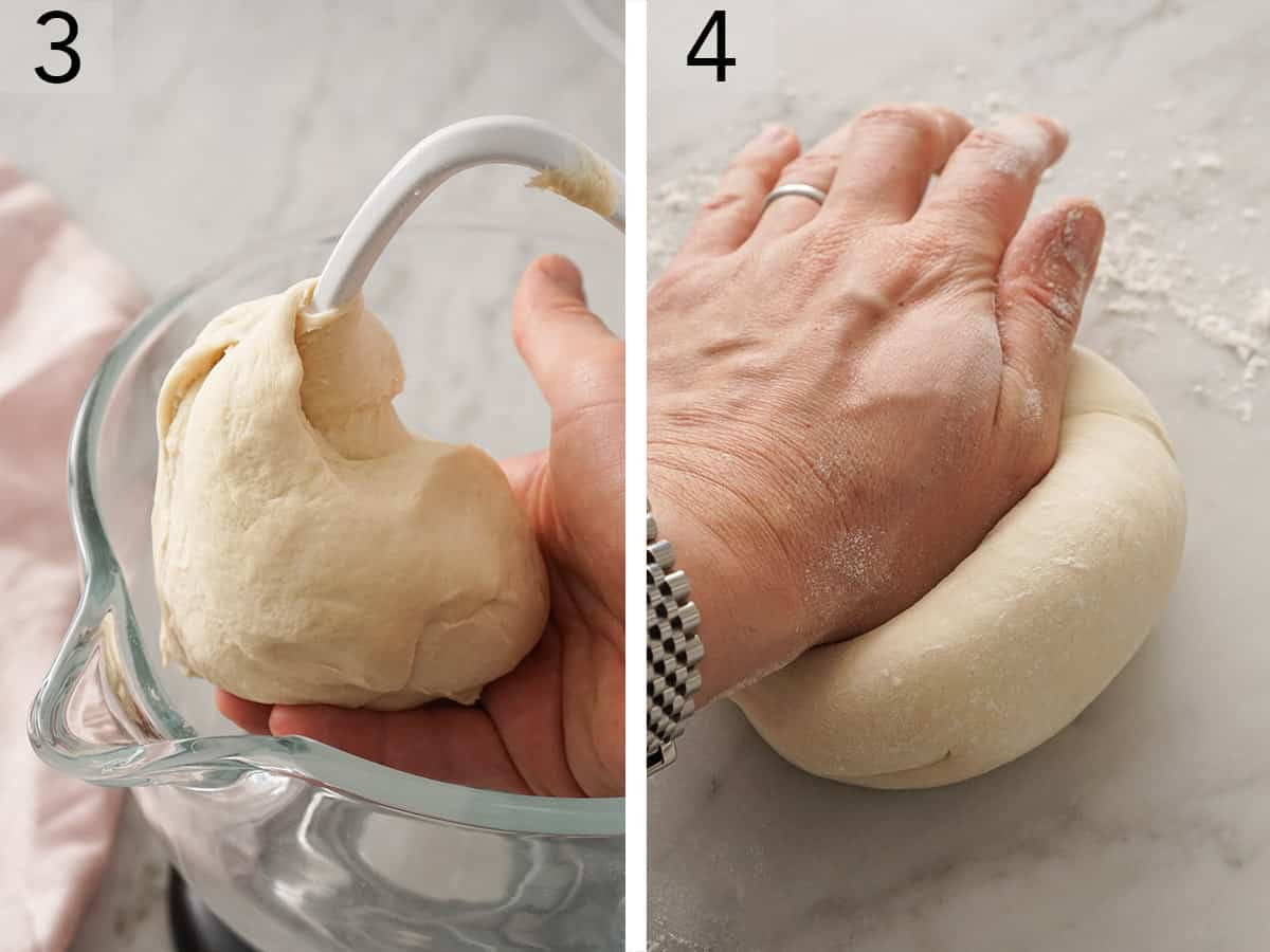 Pizza Dough getting kneaded by hand.
