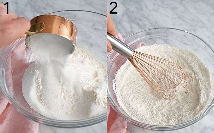 Two photos showing dry ingredients being added to a bowl then whisked for vanilla cupcakes.