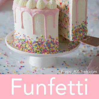 three layer funfetti cake with a pink drip and confetti sprinkles