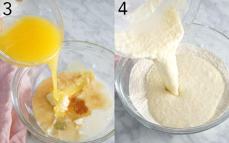 Two photos showing butter being poured into a bowl and funfetti cake batter being mixed.