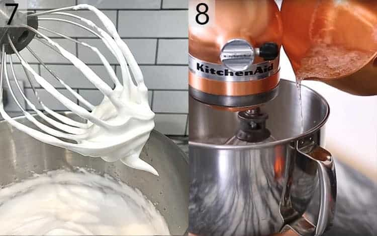 Two photos showing Italian meringue buttercream being made.