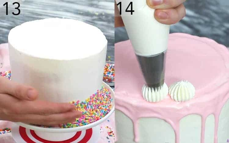 Two photos showing sprinkles pressed onto a cake and dollops piped on top.