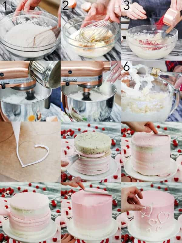A photo collage showing the steps to make a Valentine's Day cake