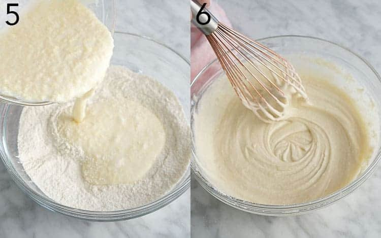 Two photos showing wet ingredients being poured into dry then whisked for vanilla cupcakes.